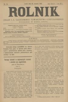Rolnik : organ c. k. galicyjskiego Towarzystwa gospodarskiego. R.36, T.66 [!], Nr. 34 (22 sierpnia 1903)