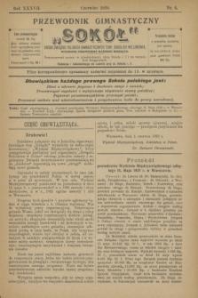 """Przewodnik Gimnastyczny """"Sokół"""" : organ Związku Polskich Gimnastycznych Tow. Sokolich we Lwowie. R.37, nr 6 (czerwiec 1920)"""