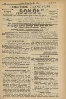 """Przewodnik Gimnastyczny """"Sokół"""" : organ Dzielnicy Małopolskiej Związku Pol. Gimnast. Tow. Sokolich. R.40, nr 6/7/8 (czerwiec/lipiec/sierpień 1923)"""