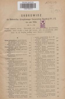 Dziennik Urzędowy Generalnej Dyrekcji Poczt i Telegrafów. R.6, Skorowidz do Dziennika Urzędowego Generalnej Dyrekcji P. i T. na rok 1924