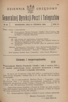 Dziennik Urzędowy Generalnej Dyrekcji Poczt i Telegrafów. R.6, № 26 (21 kwietnia 1924)