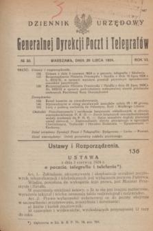 Dziennik Urzędowy Generalnej Dyrekcji Poczt i Telegrafów. R.6, № 30 (26 lipca 1924)