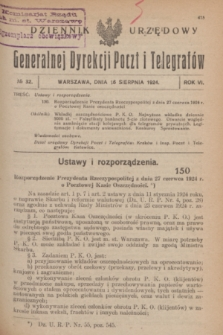 Dziennik Urzędowy Generalnej Dyrekcji Poczt i Telegrafów. R.6, № 32 (16 sierpnia 1924)