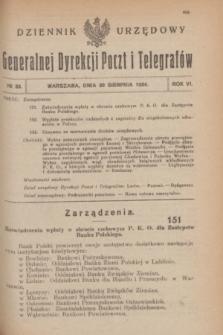 Dziennik Urzędowy Generalnej Dyrekcji Poczt i Telegrafów. R.6, № 33 (30 sierpnia 1924)