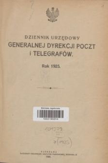 Dziennik Urzędowy Generalnej Dyrekcji Poczt i Telegrafów. R.7, Skorowidz do Dziennika Urzędowego Generalnej Dyrekcji P. i T. na rok 1925