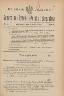 Dziennik Urzędowy Generalnej Dyrekcji Poczt i Telegrafów. R.7, nr 13 (21 marca 1925)