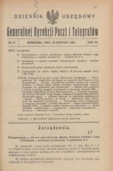 Dziennik Urzędowy Generalnej Dyrekcji Poczt i Telegrafów. R.7, nr 17 (18 kwietnia 1925) + dod.