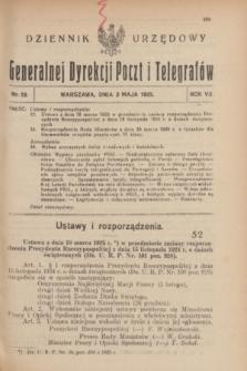 Dziennik Urzędowy Generalnej Dyrekcji Poczt i Telegrafów. R.7, nr 19 (2 maja 1925)
