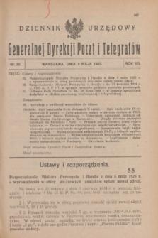 Dziennik Urzędowy Generalnej Dyrekcji Poczt i Telegrafów. R.7, nr 20 (9 maja 1925)