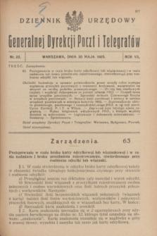Dziennik Urzędowy Generalnej Dyrekcji Poczt i Telegrafów. R.7, nr 23 (30 maja 1925)