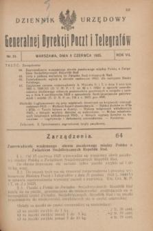 Dziennik Urzędowy Generalnej Dyrekcji Poczt i Telegrafów. R.7, nr 24 (6 czerwca 1925) + dod.