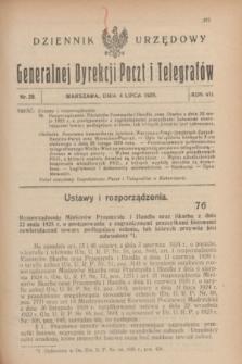 Dziennik Urzędowy Generalnej Dyrekcji Poczt i Telegrafów. R.7, nr 28 (4 lipca 1925)