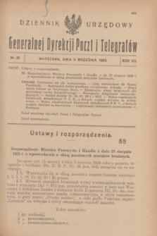 Dziennik Urzędowy Generalnej Dyrekcji Poczt i Telegrafów. R.7, nr 36 (5 września 1925)