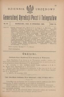 Dziennik Urzędowy Generalnej Dyrekcji Poczt i Telegrafów. R.7, nr 40 (26 września 1925)