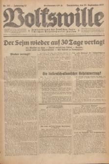 Volkswille : Zentralorgan der Deutschen Sozialistischen Arbeitspartei Polens. Jg.12, Nr. 217 (22 September 1927) + dod.