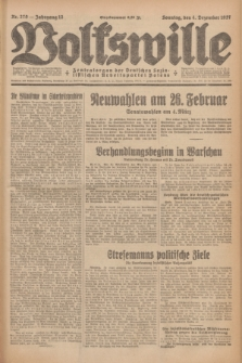 Volkswille : Zentralorgan der Deutschen Sozialistischen Arbeitspartei Polens. Jg.12, Nr. 279 (4 Dezember 1927) + dod.