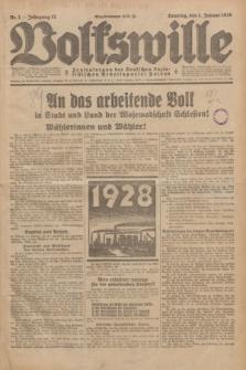 Volkswille : Zentralorgan der Deutschen Sozialistischen Arbeitspartei Polens. Jg.13, Nr. 1 (1 Januar 1928) + dod.