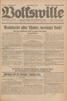 Volkswille : Zentralorgan der Deutschen Sozialistischen Arbeitspartei Polens. Jg.13, Nr. 35 (12 Februar 1928) + dod.