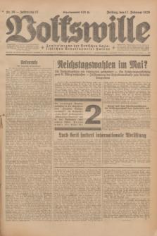 Volkswille : Zentralorgan der Deutschen Sozialistischen Arbeitspartei Polens. Jg.13, Nr. 39 (17 Februar 1928) + dod.