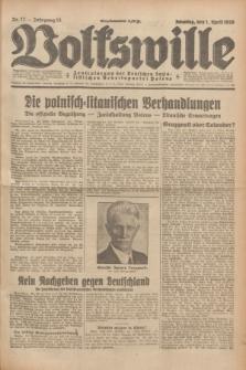 Volkswille : Zentralorgan der Deutschen Sozialistischen Arbeitspartei Polens. Jg.13, Nr. 77 (1 April 1928) + dod.