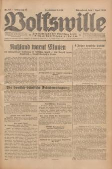 Volkswille : Zentralorgan der Deutschen Sozialistischen Arbeitspartei Polens. Jg.13, Nr. 82 (7 April 1928) + dod.