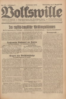 Volkswille : Zentralorgan der Deutschen Sozialistischen Arbeitspartei Polens. Jg.13, Nr. 175 (2 August 1928) + dod.
