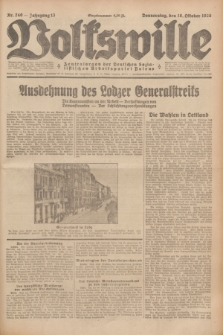 Volkswille : Zentralorgan der Deutschen Sozialistischen Arbeitspartei Polens. Jg.13, Nr. 240 (18 Oktober 1928) + dod.