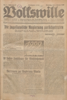 Volkswille : Zentralorgan der Deutschen Sozialistischen Arbeitspartei Polens. Jg.14, Nr. 1 (1 Januar 1929) + dod.