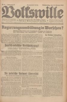 Volkswille : Zentralorgan der Deutschen Sozialistischen Arbeitspartei Polens. Jg.14, Nr. 8 (10 Januar 1929) + dod.