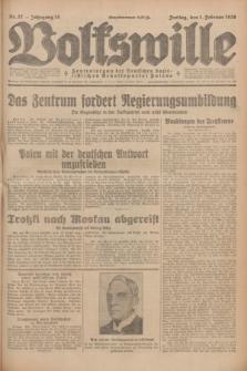 Volkswille : Zentralorgan der Deutschen Sozialistischen Arbeitspartei Polens. Jg.14, Nr. 27 (1 Februar 1929) + dod.