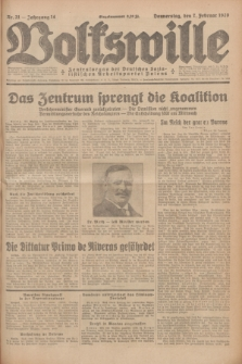 Volkswille : Zentralorgan der Deutschen Sozialistischen Arbeitspartei Polens. Jg.14, Nr. 31 (7 Februar 1929) + dod.
