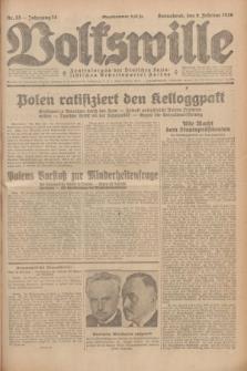 Volkswille : Zentralorgan der Deutschen Sozialistischen Arbeitspartei Polens. Jg.14, Nr. 33 (9 Februar 1929) + dod.