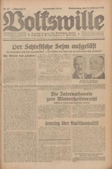 Volkswille : Zentralorgan der Deutschen Sozialistischen Arbeitspartei Polens. Jg.14, Nr. 37 (14 Februar 1929) + dod.