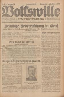 Volkswille : Zentralorgan der Deutschen Sozialistischen Arbeitspartei Polens. Jg.14, Nr. 39 (16 Februar 1929) + dod.