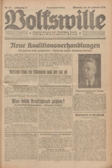 Volkswille : Zentralorgan der Deutschen Sozialistischen Arbeitspartei Polens. Jg.14, Nr. 42 (20 Februar 1929) + dod.