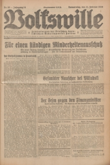 Volkswille : Zentralorgan der Deutschen Sozialistischen Arbeitspartei Polens. Jg.14, Nr. 43 (21 Februar 1929) + dod.