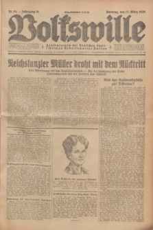 Volkswille : Zentralorgan der Deutschen Sozialistischen Arbeitspartei Polens. Jg.14, Nr. 64 (17 März 1929) + dod.