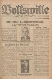 Volkswille : Zentralorgan der Deutschen Sozialistischen Arbeitspartei Polens. Jg.14, Nr. 84 (11 April 1929) + dod.