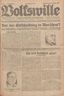 Volkswille : Zentralorgan der Deutschen Sozialistischen Arbeitspartei Polens. Jg.14, Nr. 87 (14 April 1929) + dod.