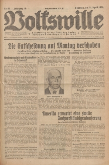 Volkswille : Zentralorgan der Deutschen Sozialistischen Arbeitspartei Polens. Jg.14, Nr. 93 (21 April 1929) + dod.