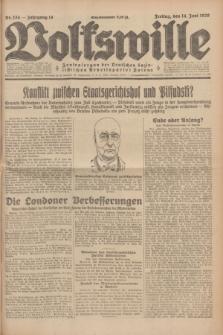 Volkswille : Zentralorgan der Deutschen Sozialistischen Arbeitspartei Polens. Jg.14, Nr. 134 (14 Juni 1929) + dod.