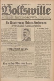 Volkswille : Zentralorgan der Deutschen Sozialistischen Arbeitspartei Polens. Jg.14, Nr. 140 (21 Juni 1929) + dod.