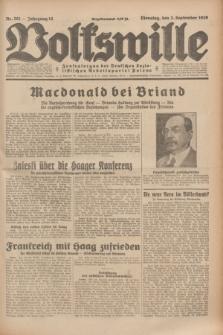 Volkswille : Zentralorgan der Deutschen Sozialistischen Arbeitspartei Polens. Jg.14, Nr. 201 (3 September 1929) + dod.