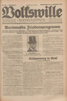 Volkswille : Zentralorgan der Deutschen Sozialistischen Arbeitspartei Polens. Jg.14, Nr. 203 (5 September 1929) + dod.