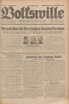 Volkswille : Zentralorgan der Deutschen Sozialistischen Arbeitspartei Polens. Jg.14, Nr. 205 (7 September 1929) + dod.