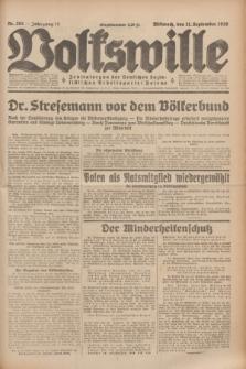 Volkswille : Zentralorgan der Deutschen Sozialistischen Arbeitspartei Polens. Jg.14, Nr. 208 (11 September 1929) + dod.