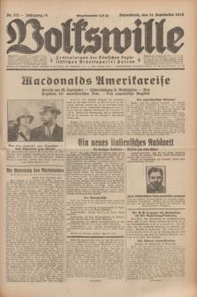 Volkswille : Zentralorgan der Deutschen Sozialistischen Arbeitspartei Polens. Jg.14, Nr. 211 (14 September 1929) + dod.