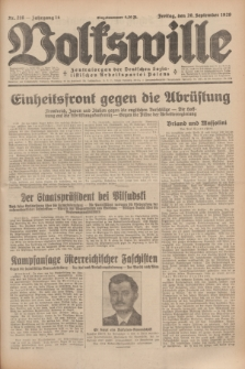 Volkswille : Zentralorgan der Deutschen Sozialistischen Arbeitspartei Polens. Jg.14, Nr. 216 (20 September 1929) + dod.