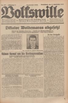 Volkswille : Zentralorgan der Deutschen Sozialistischen Arbeitspartei Polens. Jg.14, Nr. 217 (21 September 1929) + dod.