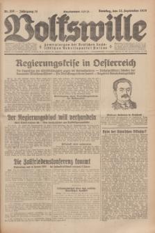 Volkswille : Zentralorgan der Deutschen Sozialistischen Arbeitspartei Polens. Jg.14, Nr. 218 (22 September 1929) + dod.